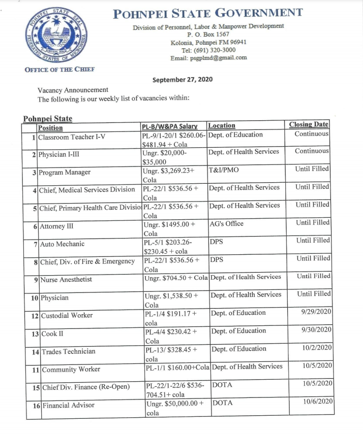 Vacancy announcements as of September 27, 2020 from the Division of Personnel, Labor and Manpower Development